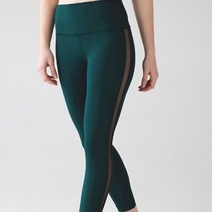 Lululemon High Times 7/8 Pant Deep Green Mesh
